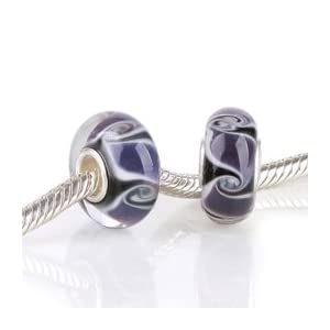 Dark Blue Violet Goth Swirls Glass Bead with 925 Sterling Single Core