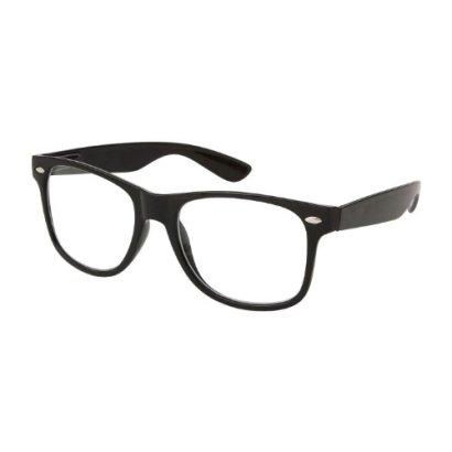 RETRO-NERD-Geek-Oversized-BLACK-Framed-Spring-Temple-Clear-Lens-Eye-Glasses