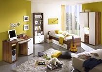 Komplettes Jugendzimmer/Kinderzimmer Tina Walnuss/weiss, 3-türig