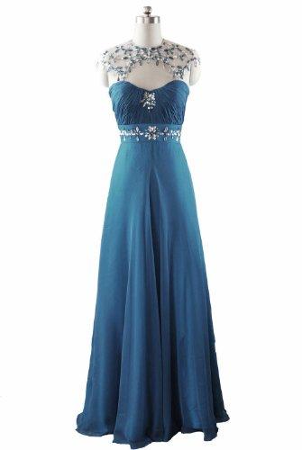 Qpid Showgirl Langes Elegantes Abendkleid aus zartem Chiffon,Sicken Arbeit,Knickentenblau, 0364BL