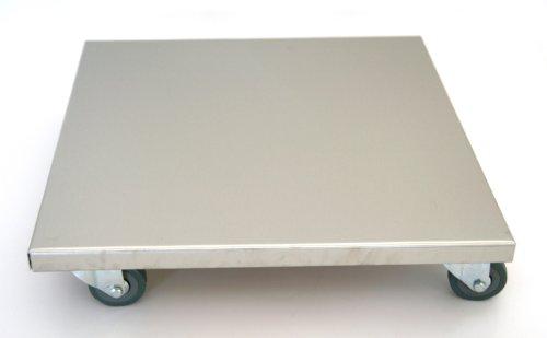 Möbelroller / Pflanzenroller 40x40 cm, Edelstahl, 150kg, PUroller Rolle + Bremse