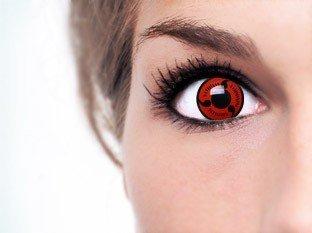 Farbige Kontaktlinsen 'Sharingan Naruto' mit Original Lenscare Kombilösung! Topqualität