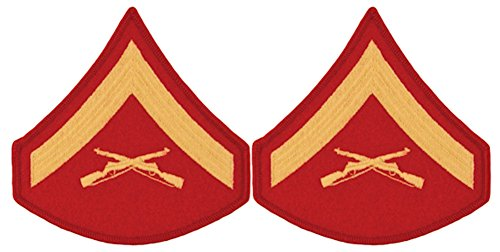 Gold on Red USMC Chevrons - Lance Corporal - Male