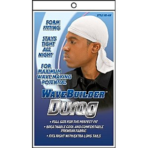wave builder du rag with long tie white model 192 aw hair styling product