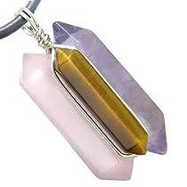 Universe Positive Energy Amulet Silver Crystal Point Wands Rose Quartz, Tiger Eye, Amethyst Pendant Necklace