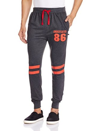 Body Tantrum Men's Track Pants (BT86CB_32W x 31L_Charcoal Black)