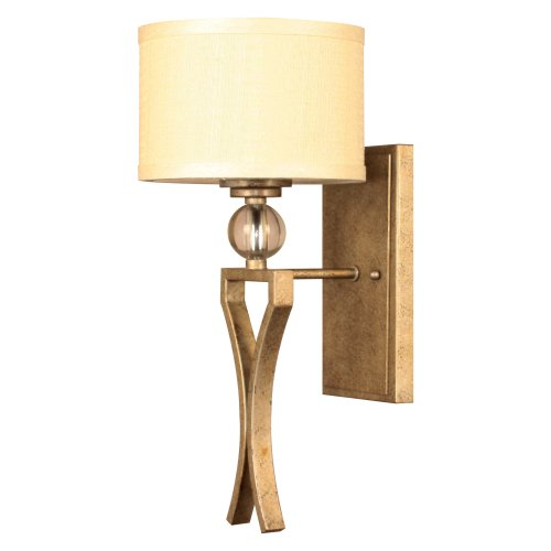 Yosemite Home Decor TWC5474V-1GD Lewisia Collection One-Light Incandescent Sconce Golden Dew Frame with Cream Linen Shade