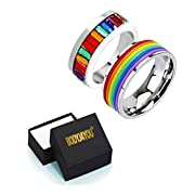 Rainbow Ring Gay Pride Value Pack Bands Stainless Steel