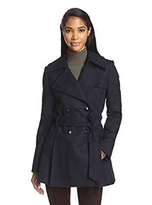 Via Spiga Women's Double-Breasted Coat with Back Pleats (Midnight)