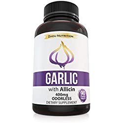 Garlic Pills with Allicin for Intense Immunity Support & Heart Health - Odorless Enteric Coated Tablets - Potent Maximum Strength 400mg Supplement - Experience the Allicin Difference - Made in the USA