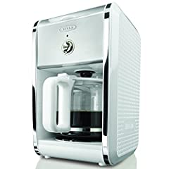 BELLA 13659 Dots Collection 12-Cup Coffee Maker, White