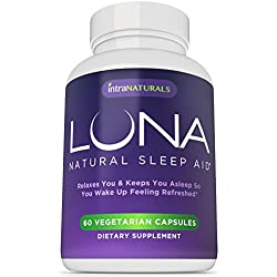 LUNA - 60 Vegetarian Capsules - #1 Natural Sleep Aid on Amazon - 100% Herbal & Non-Habit Forming Sleeping Pill (Made with Valerian, Chamomile, Passionflower, Lemon Balm, Melatonin & More!) - IntraNaturals Lifetime Guarantee