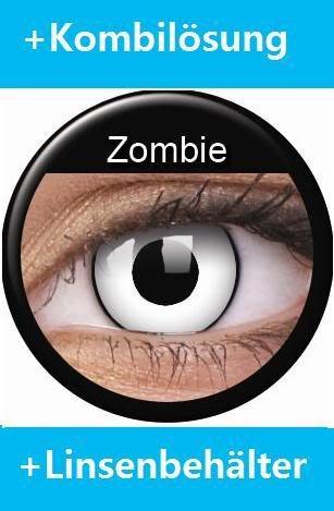 Farbige Kontaktlinsen Crazy Lenses Kostüm Karneval WHITE ZOMBIE / WEISS MIT SCHWARZEM RAND weiß inkl. 60 ml Pflegemittel und Behälter
