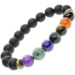 AmorWing Unisex 7 Chakra Healing Mala Gemstone Bracelet 8mm 7-Inch