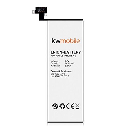kwmobile スペアバッテリーパック Apple iPhone 4S用 - 容量: mAh