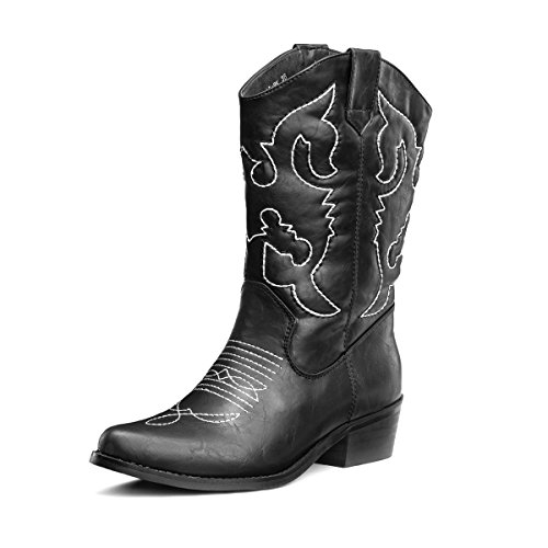 SheSole Womens Embroidered Western Cowboy Cowgirl Mid-Calf Wedding Boots Black US 8