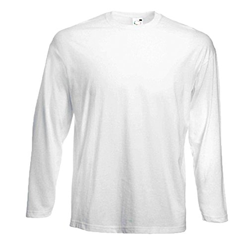 3 Fruit of the Loom Longsleeve Langarm T-Shirts in weiss, Grössen S, M, L, XL