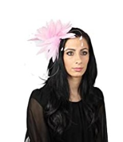 Hats By Cressida Pale Pink Feather Kentucky Derby Fascinator Hat With Headband