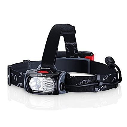 LITOM Super Bright White/Red LED Headlamp-220 Lumens Cree Led,153m lighting, 2000Mah Rechargeable Battery, Waterproof, Best for Running, Caving, Hiking, Camping, Reading, Kids, Perfect Christmas Gift