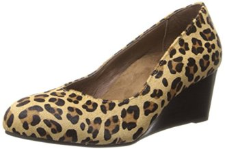Vionic With Orthaheel Womens Antonia Mid Wedge Pump Shoes, Tan Leopard, US 8