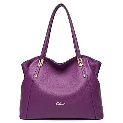 CLUCI-Leather-Handbags-Designer-Tote-Satchel-Shoulder-Bag-Purse-for-Women-Purple