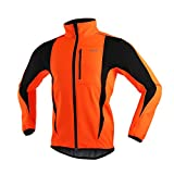 ARSUXEO Winter Warm UP Thermal Softshell Cycling Jacket Windproof Waterproof Bicycle MTB Mountain Bike Clothes 15-K Orange Size Small