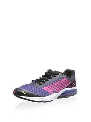 PUMA Women's Powertech Defier Fade Running Shoe (Black/Beetroot Purple/Sunny Lime)