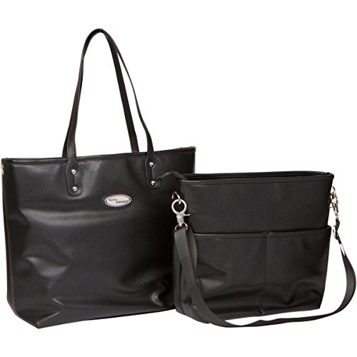 Boopeedo Vegan Leather Tote Diaper Bag with RFID Blocking Pocket - Black