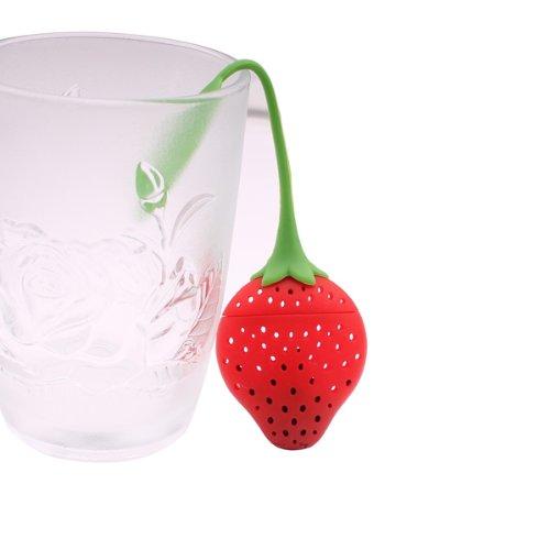 Leegoal Super Cute Fantastic Strawberry Design Silicone Tea Infuser Strainer Teapot Teacup (Red)