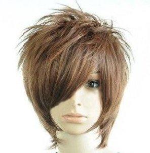 学園祭・プチ変装 メンズウィッグ盛り髪イケメン風 ダークブラウン ウィッグスタンドセット
