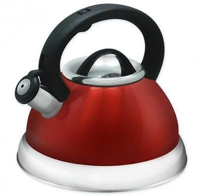 Alpine Red Finish Encapsulated Base 18/10 Stainless Steel Whistling Tea Kettle Pot