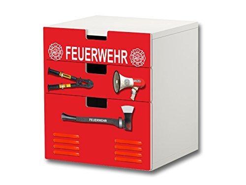 """""""Feuerwehr"""" Möbelsticker / Aufkleber – S3K20 – passend für die Kinderzimmer Kommode mit 3 Fächern / Schubladen STUVA von IKEA – Bestehend aus 3 passgenauen Möbelfolien (Möbel nicht inklusive)"""