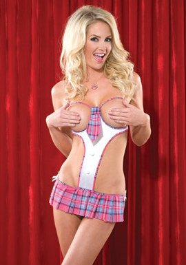 1 Pc. School Girl Teddy with Open Cups and Attached Crotchless G-string