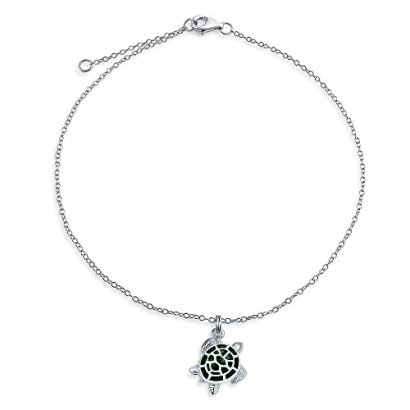 Bling-Jewelry-925-Silver-Green-Enamel-Nautical-Turtle-Charm-Anklet-9in