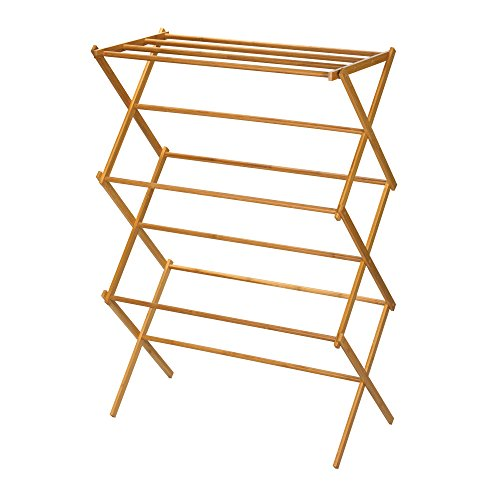 Household Essentials 6524 Tall Indoor Folding Wooden Clothes Drying Rack - Dry Laundry and Hang Clothes - Made of Bamboo