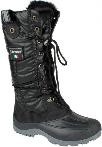 San Bernardo After Ski Winterstiefel Winterboot Fashion Style mit Zipverschluß schwarz Groesse-38