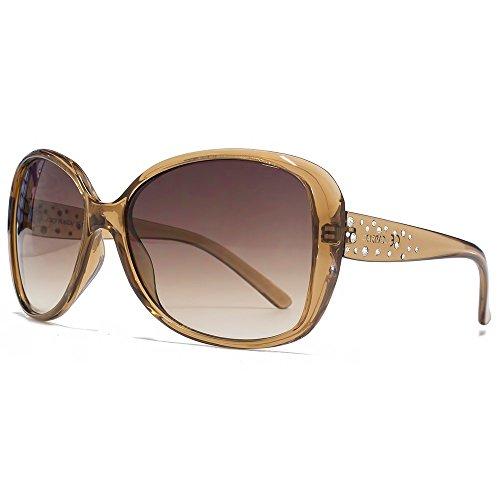 Carvela Glam Diamante-Sonnenbrille im Crystal Brown CAR017