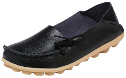 Serene Womens Leather Cowhide Casual Lace Up Flat Driving Shoes Boat Slip-On Loafers (7.5B(M)US, Black)