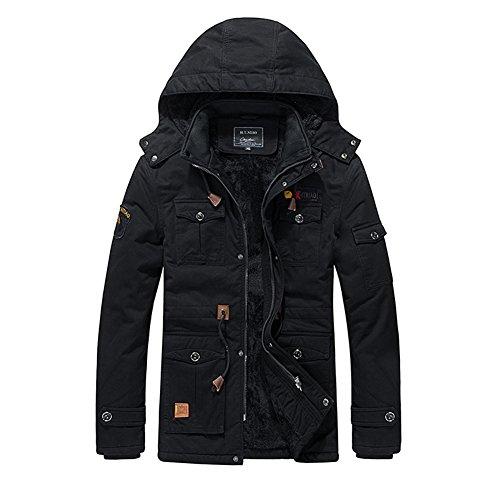 H.T.Niao Jacket9933C2 Winter Korean Men Plus Velvet Jackets(Black,Size L)