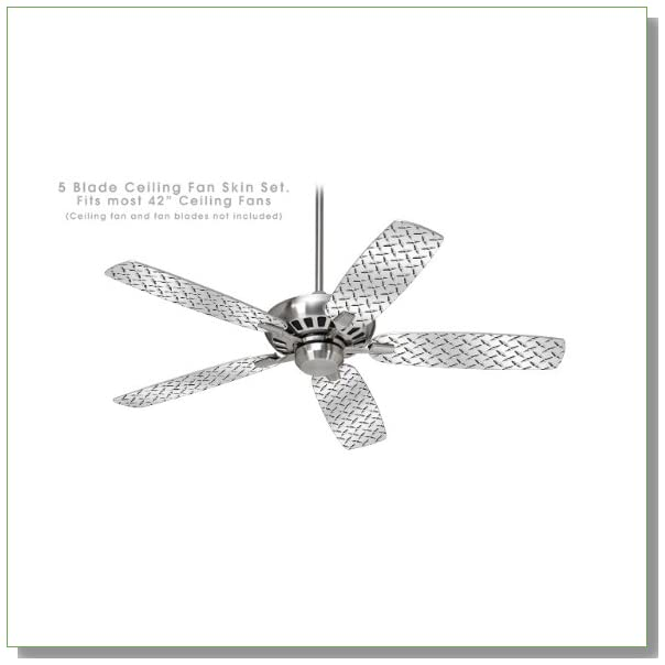 Ceiling Fan Skin Kit (fits most 42inch fans) - Diamond Plate Metal - (Fan and fan blades NOT INCLUDED) by wallthat