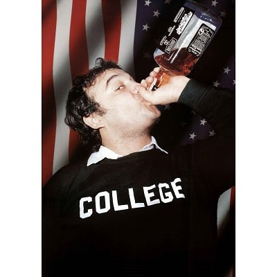 "Picture of Jim Belushi chugging a bottle of Jack Daniels, wearing a sweater that says, ""COLLEGE."""