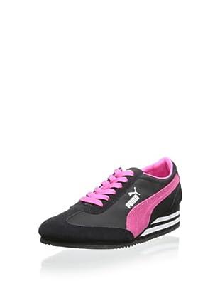 PUMA Women's Caroline Stripe Wedge Sneaker (Black)