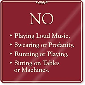 Amazon No Playing Loud Music No Swearing Or