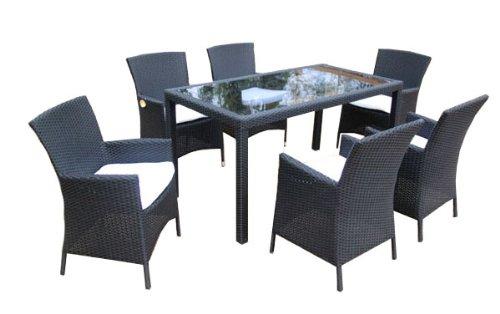 Ambientehome 63458AM 7-teilige Sitzgruppe, Essgruppe Ledo Gartenmöbel Polyrattanmöbel, schwarz