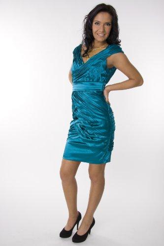 Modell 2045 Abendkleid knielang, Träger, petrol Größe 38