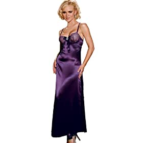 Elegant Purple Nightgown Rhinestone Pin Long Night Gown GIft Idea S or M