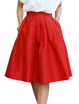 Allegra-K-Ladies-Floral-Jacquard-Pleated-High-Waist-Midi-A-line-Skirt-Red-M