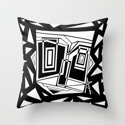 Black And White Abstract Throw Pillow by 5wingerone