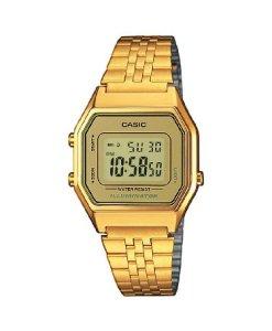 Casio Casio Collection LA680WEGA-9ER - Reloj digital de cuarzo para mujer, correa de acero inoxidable color dorado (luz, alarma, cronómetro)