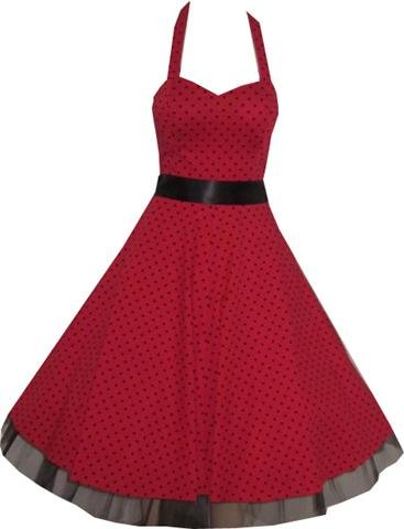Pretty Kitty Fashion 50s Polka Dot Rot Schwarz Neckholder Cocktail Kleid